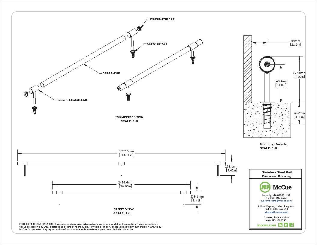 CartStop Stainless Steel , rostfritt - ritning McCue