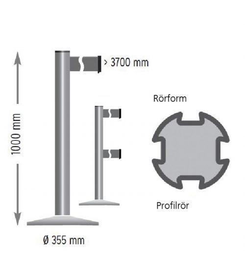 Viaguide Beltrac Extend avspärrningssystem ritning